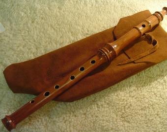 Heritage Music Keyless Irish Folk Flute Cherry Wood with Leather Woodwind Bag