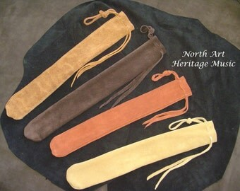Leather Xaphoon Case, Whistle, Recorder, Quena, Fife, Pipe, Drumstick, Hammered Dulcimer Hammers  Bag Leather pouch 24 x 4