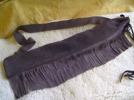 LEATHER Native Flute Bag, Pipe Pouch, Shakuhachi, OR Low D Whistle Bag with Fringe and Shoulder Strap