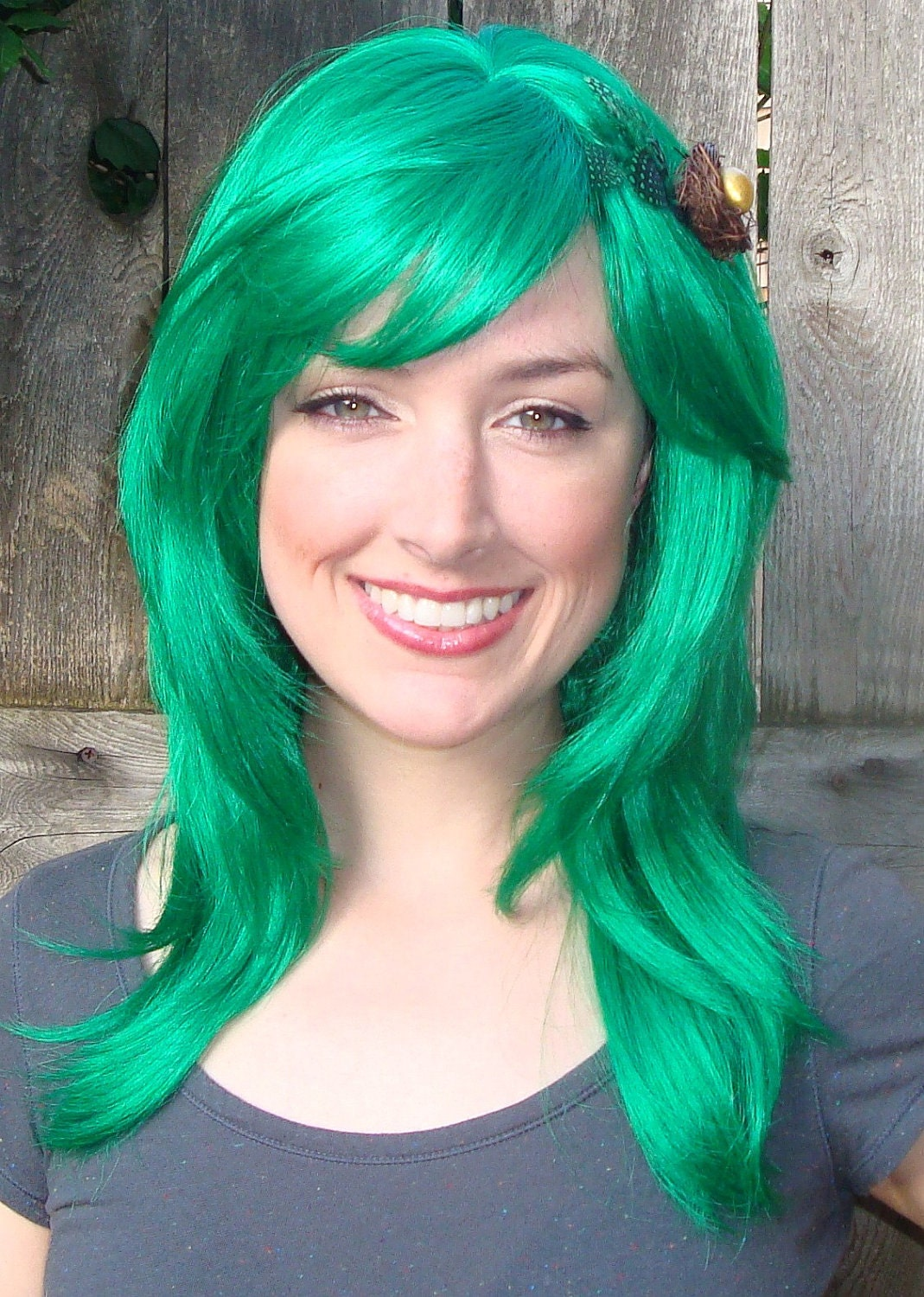 Green Wig With Removable Green Hair Clip