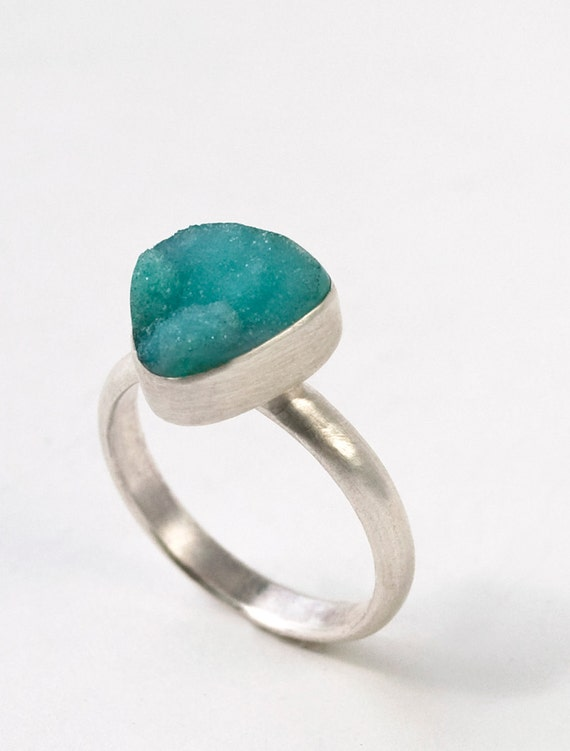 Small Blue Druse Ring