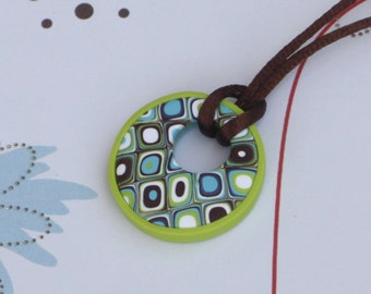 Retro pendant necklace in green, brown and turquoise, polymer clay