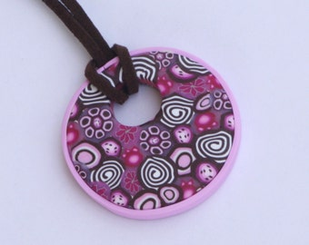 Round pendant necklace in brown and pink, polymer clay millefiori