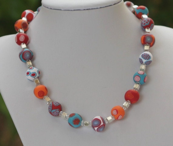 Summer beaded necklace in red, orange, turquoise and white, polymer clay, silver cubes and swaovski beads