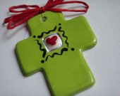 Small fat handpainted cross-Bright green