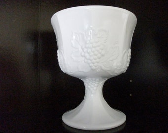 Vintage Harvest Grape Milk Glass Compote