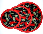 Pan Protectors - Red Hot Chili Peppers - No More Scratches Fry Pan Storage - Set of 3 sizes - Machine Washable