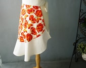 SALE - Half Apron with Flounce in Orange Floral on Ivory Background - Ready to Ship