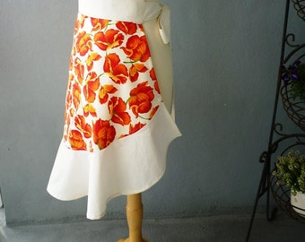 Half Apron with Flounce in Orange Floral on Ivory Background - Ready to Ship
