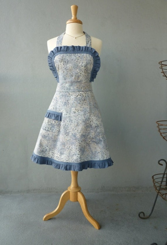 Full Apron - Vintage Style Apron with Swirl Skirt in Gray Blue Batik with Denim Ruffle Trim - Ready to Ship