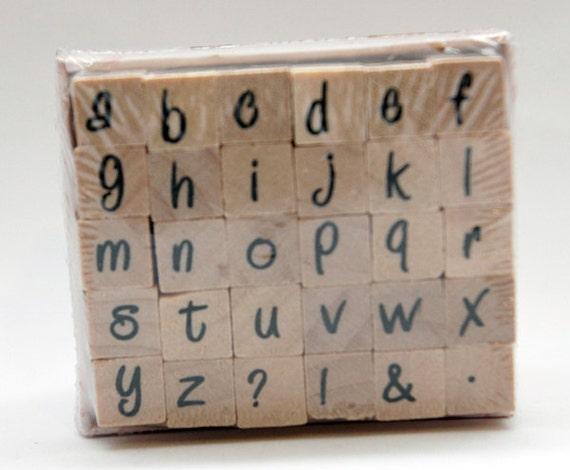 ABCs Lower Case fun handwriting Wood Mounted Stamp Studio G