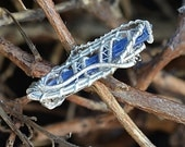 Sterling Silver Kyanite and Herkimer Diamond Wire Wrapped Pin
