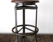 RESERVED - Rare Find Vintage Industrial Stationary Stool
