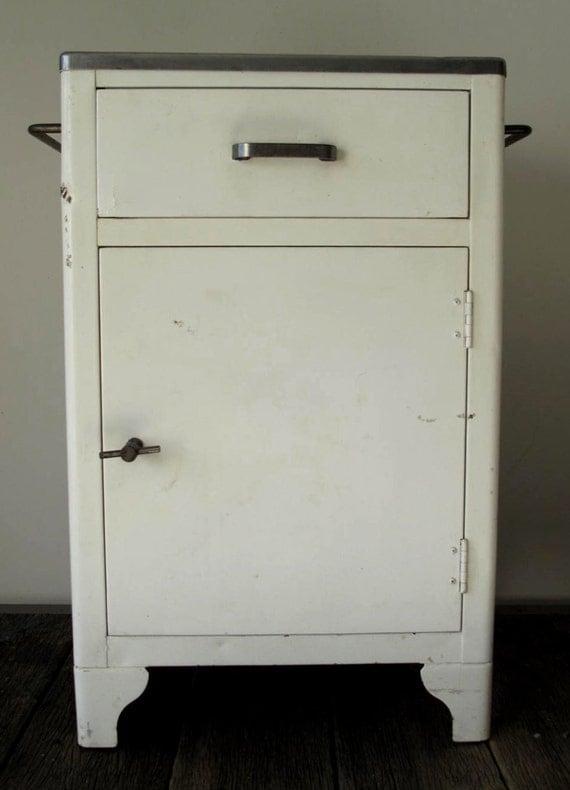 Vintage Industrial Metal Medical Cabinet By Fowllanguage