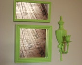 Green Apple Wall Decor w/ Mirrors / Candle Sconce