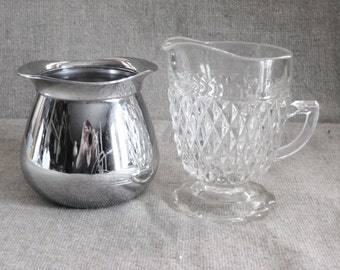 Vintage Cut Glass Creamer or Retro Sunbeam Stainless Sugar / Coffee Lover Gift / Discounted Price for Pair