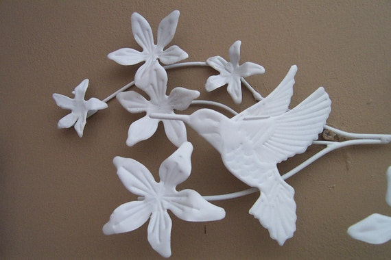 Hummingbirds & Flowering Branches Upcycled Metal Wall Art