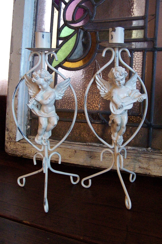 Sweet Cherub Candle Holders / Upcycled Candle Holder Pair in Heirloom White
