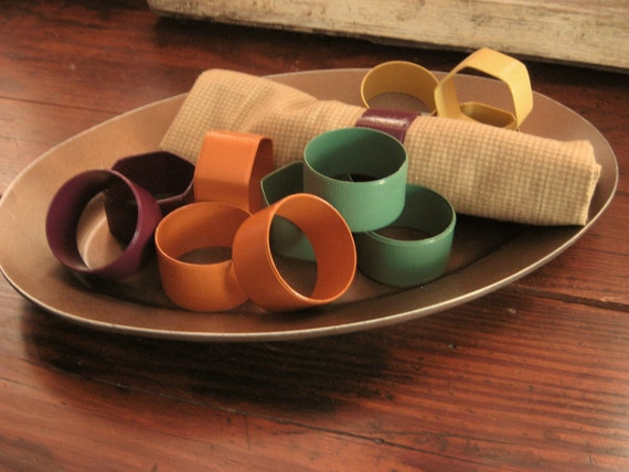 Colorful Napkin Rings--Twelve Upcycled Napkin Rings