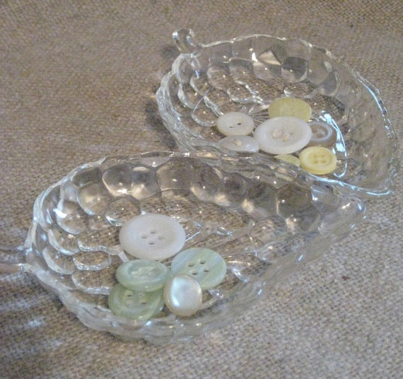 Vintage Glass Grape Cluster Dishes / Butter Pats