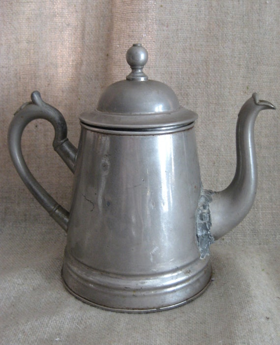 Shabby Silver Plate Coffee Pot / Watering Can