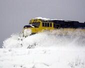 Alaska Train Plowing Through Snow - 11x14