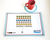 CLEARANCE SALE Breakfast is Power Laminated Kitchen Retro healthy Placemat. Space invaders Children Teens Geekery Kids Gift
