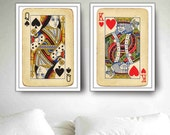 Royal Wedding Gift, Bedroom Walls 2 Big posters King and Queen Playing Cards, Home Decor 20x30 For Hostess, Fits to IKEA's frames