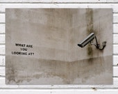SALE: Men's Gift, What Are You Looking At, Banksy Graffiti, London. 8x10'' Print, Fine Art Photograph, office decor, dorm decor