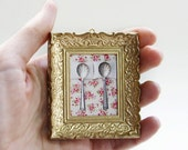 OOAK tiny Vintage Upcycled Miniature Gold Frame and Magnet with Spooning Canvas Photo Print, Romantic Home Decor Gift, Shabby Chic Style