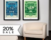 SALE 20% Off: Set of 2 Big Hebrew Posters 2 For Tea & Ready, Set Bike healthy 20x30 (50x70cm) Fit into Ikea frames. Mom/  Dad Gift