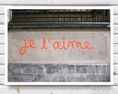 I Love You, Je T'aime 5x7'' (13x18cm) French Graffiti Fine Art Photograph, neon orange, grey gray urban photo print, Autumn - petekdesign