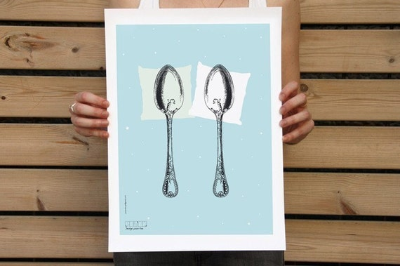 Spooning Poster 30.4x42cm LIGHT BLUE AQUA