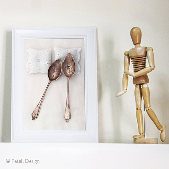 """SALE: Whimsical Art Photo Print 5x7"""" Romantic Gift Spooning Fine Photography. Bedroom walls, Unisex Gift, Natural Rustic White, Still life"""