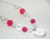 Hot Pink and White Large Crystal Heart