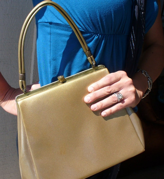 Reserved for Debbie 1950s Vintage Gold Patent Leather Purse