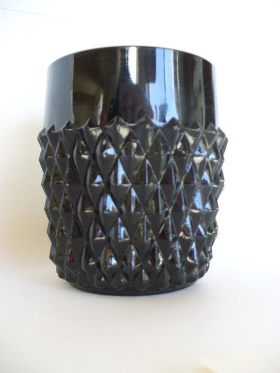 Vintage Mid Century Black Glass Vase
