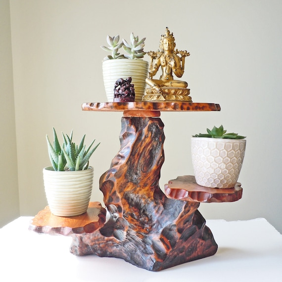 Vintage Natural Wood Tree Trunk Plant Stand