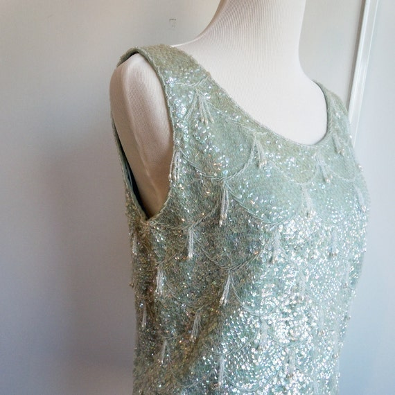 Reserved for Khendrix 1950s ice blue sequined shell wool tank top with white skirt