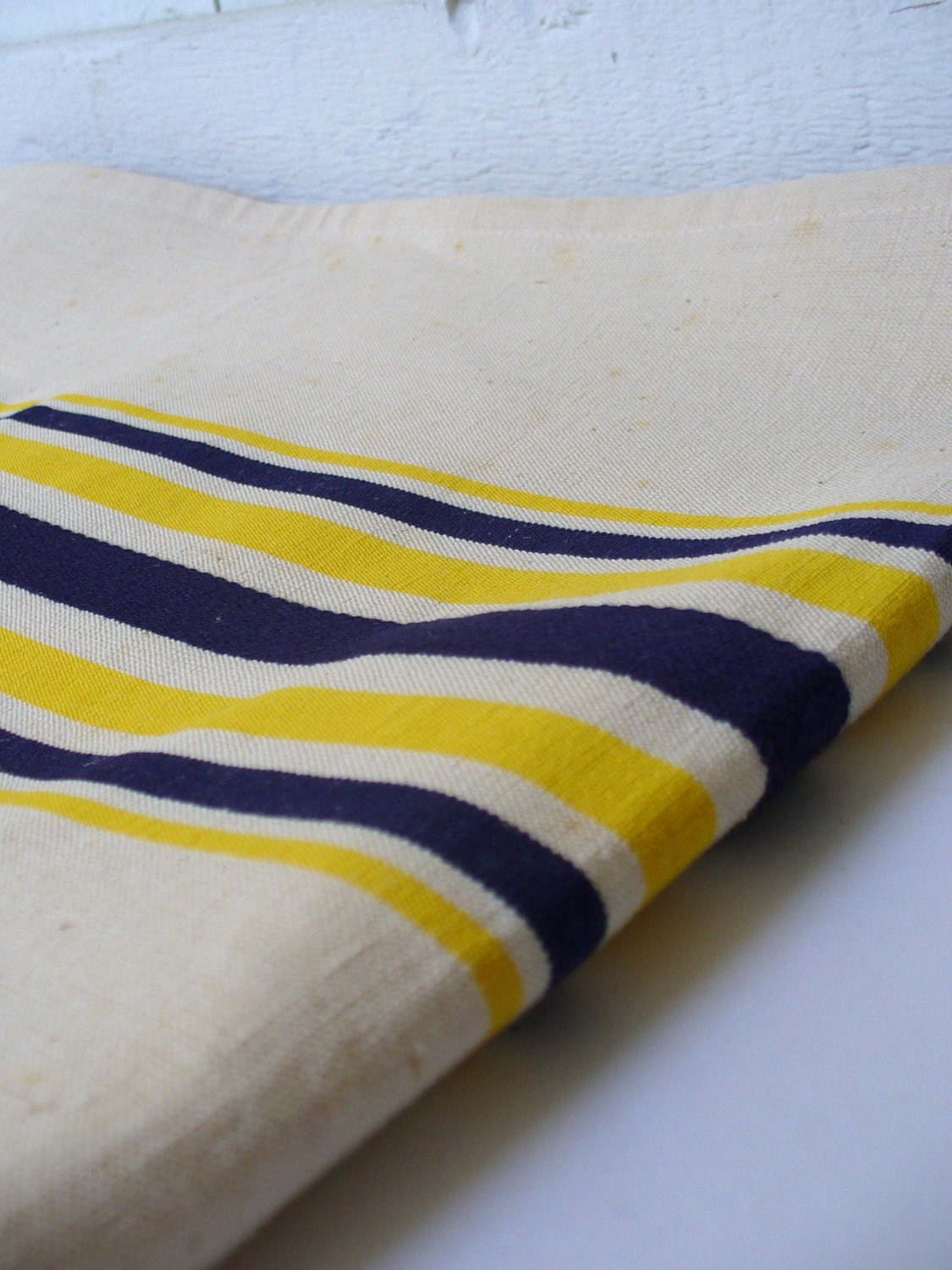 Vintage Nautical Navy Blue Striped Table Runner By