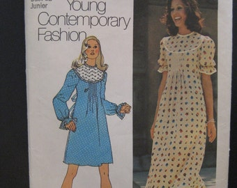 Vintage 1972 Peasant Prairie Boho Maxi Dress Back Tie Ruffle Sleeves Simplicity Pattern 5403 Size 9 Junior