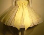 1950s-1960s-Vintage-Yellow and Lace-Scoop Neck-Short Sleeved-Large Bow-Full Skirt-Princess-Cupcake-Rockabilly-Cocktail-Formal-Prom-Party Dress