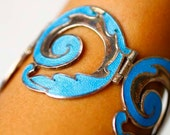 Vintage Margot de Taxco Bracelet Set - Sterling Silver Turquoise Enamel Bracelet Set