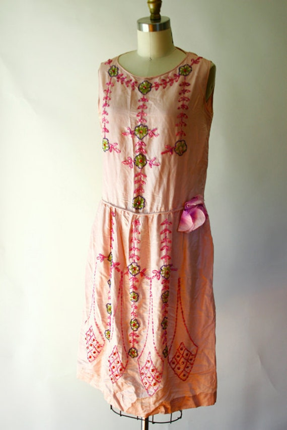 Reserved for Maggie Martin - Vintage 20s Flapper Deco Beaded Pink Cotton Dress