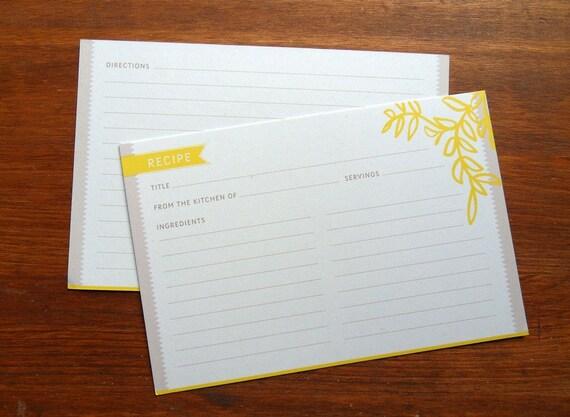 24-Yellow Vine Recipe Cards