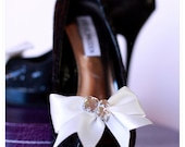 Ivory Bow Shoe Clips with Rhinestones