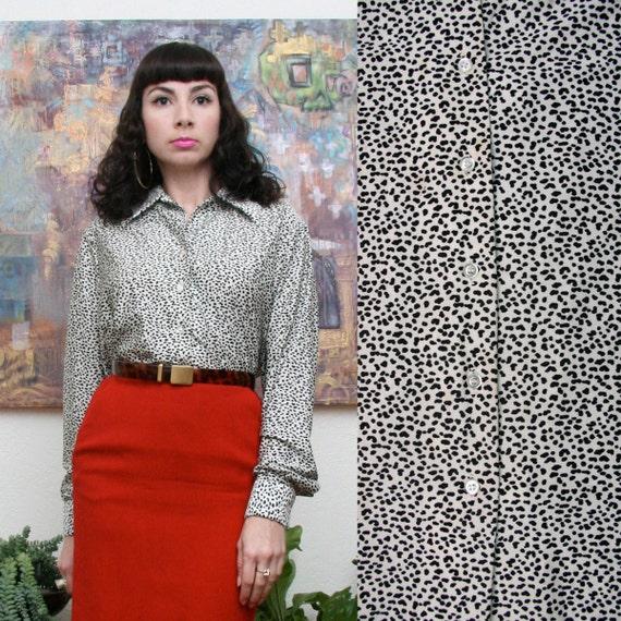 Vintage 70s Cheetah Print blouse Large-Extra Large