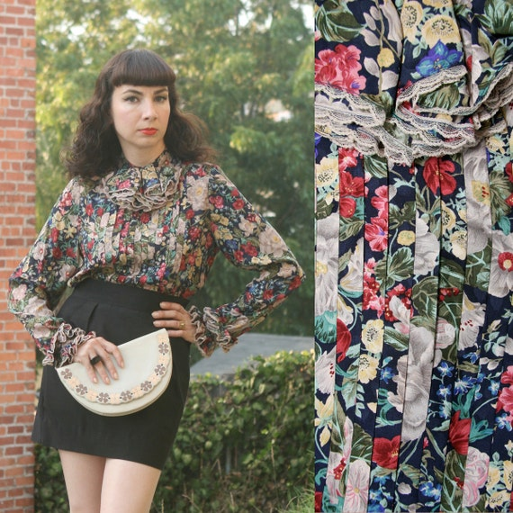 Vintage 80s 90s Floral Print Ruffled Puff Sleeve Silk Blouse Small