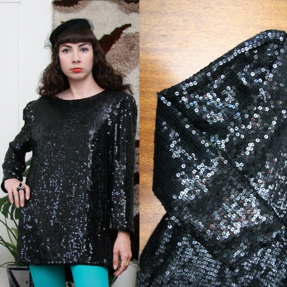 Vintage 80s 90s Puff Sleeve Black Sequined Tunic Medium