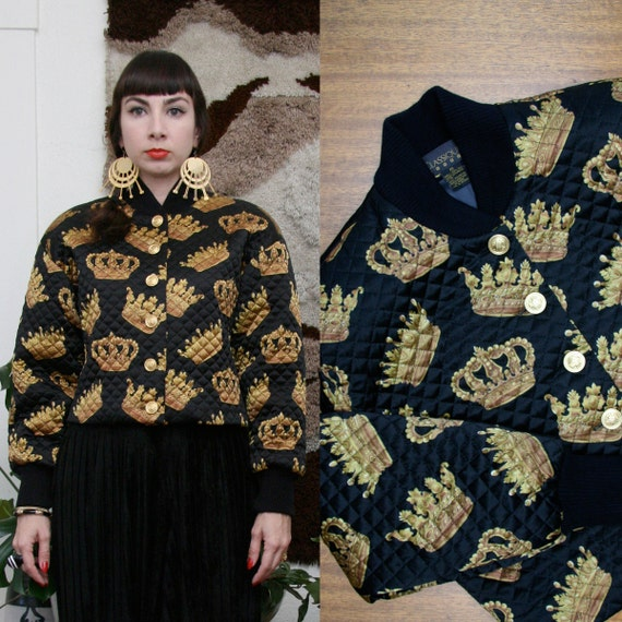 Vintage 80s 90s Printed Quilted Silk Jacket Extra Small-Small